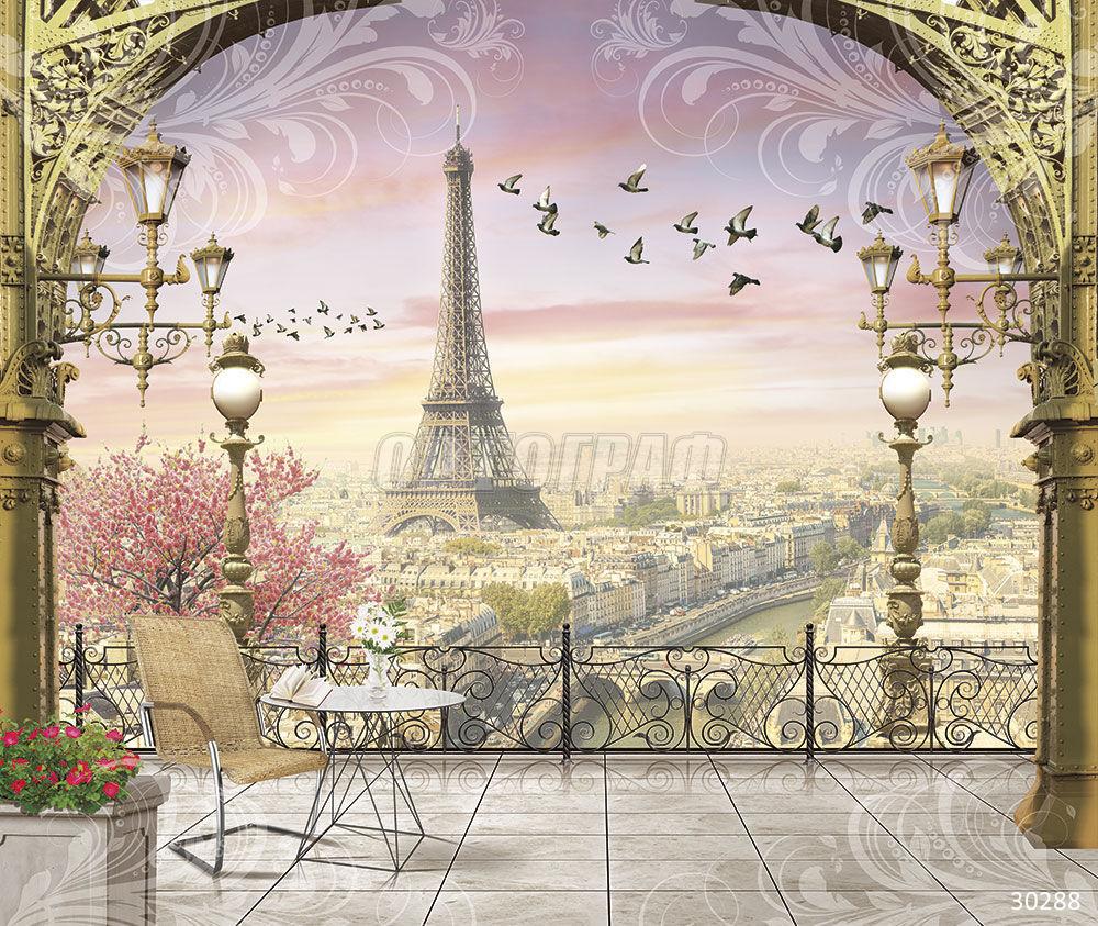 фотоколлаж из фотографий париж на стекле